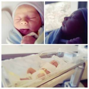 three photos of my son when he was born.